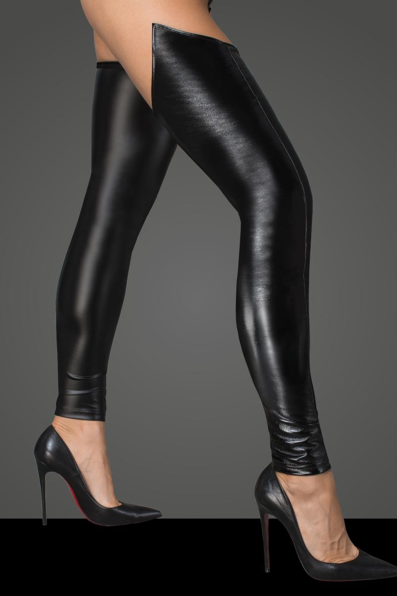 Lacquered eco leather and powerwetlook stockings F196 by Noir Handmade Rebellious Collection