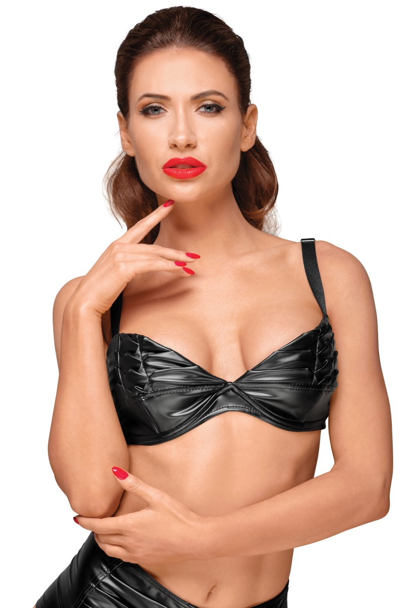 Powerwetlook bra with handmade pleats F174 by Noir Handmade Decadence Collection