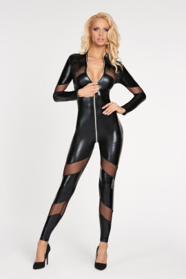 schwarzes Wetlook Catsuit Chancay - S/M