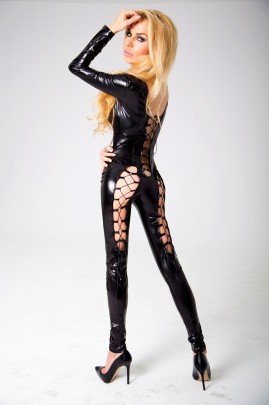 schwarzes Wetlook Catsuit Kitty S/M von 7-Heaven Dessous