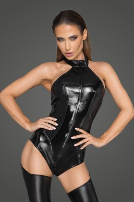 Body aus Powerwetlook und lackiertem Kunstleder F198 von Noir Handmade Rebellious Collection