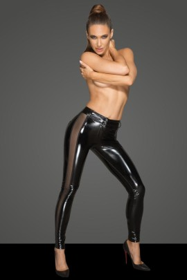 PVC leggins with tulle inserts F202 by Noir Handmade Rebellious Collection