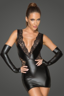 Powerwetlook and lace minidress with a deep neckline F212 by Noir Handmade Rebellious Collection
