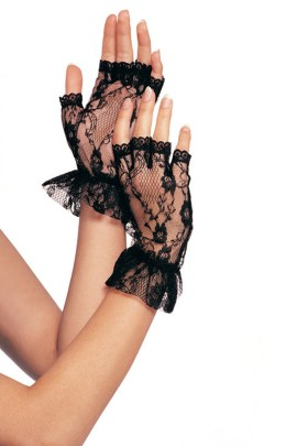 Lace gloves black One Size, senza dita