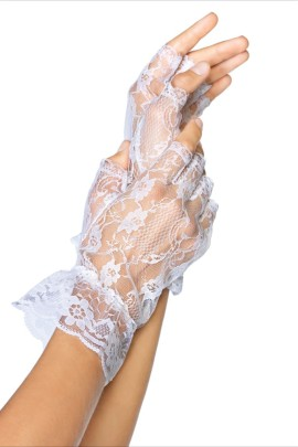 Lace gloves white One Size, senza dita