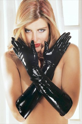 Latex gloves, Sharon Sloane, black