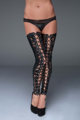 Lace and powerwetlook stockings F145 by Noir Handmade Muse Collection