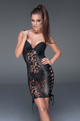 black Lace and powerwetlook minidress with ribbon F146 by Noir Handmade Muse Collection