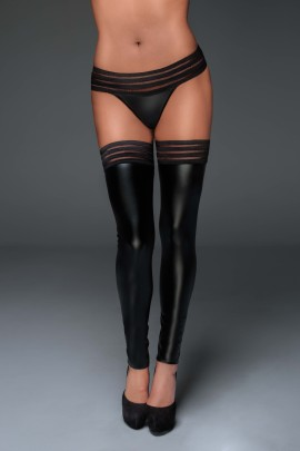 Powerwetlook stockings with elastic tape F158 by Noir Handmade Muse Collection