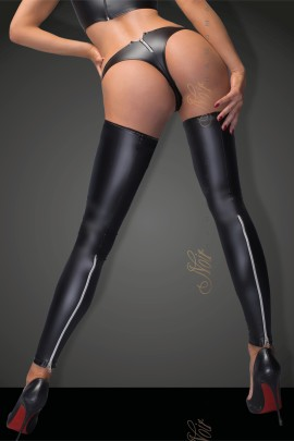 Powerwetlook stockings and panties with silver zipper  F163 by Noir Handmade B#tch Collection