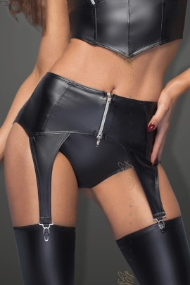 black garter belt with silver zipper F166 by Noir Handmade B#tch Collection