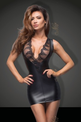 black Powerwetlook minidress with lace cleavage F168 by Noir Handmade B#tch Collection