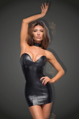 black Powerwetlook minidress with eco-leather cups F172 by Noir Handmade B#tch Collection