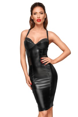 Powerwetlook dress with chequered tape inserts on the waist and bust F180 by Noir Handmade Decadence Collection