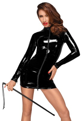 PVC mini dress with black 2-way zipper in the front F187 by Noir Handmade Decadence Collection