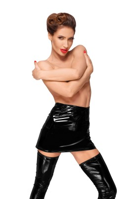 PVC mini skirt with long hidden zipper on the side F189 by Noir Handmade Decadence Collection