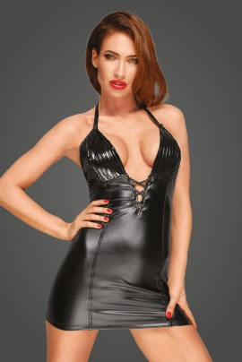 Powerwetlook Minidress with pleated vinyl cups F226 by Noir Handmade Rebellious Collection