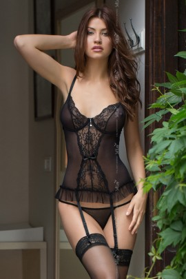 schwarzes Gorset 1837 von Softline Romantic Collection